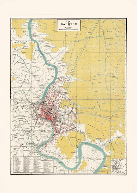 VINTAGE BANGKOK MAP Antique Map of Bangkok Thailand | Etsy