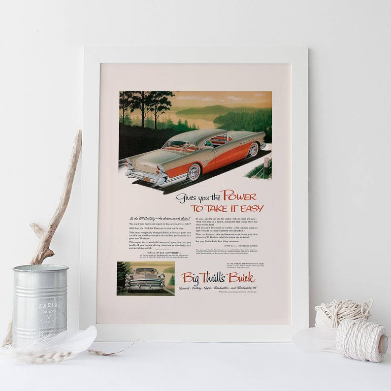 Vintage American Car Poster Vintage Poster Retro Wall Art VINTAGE 1957 POWERFUL CAR Ad High Quality Reproduction