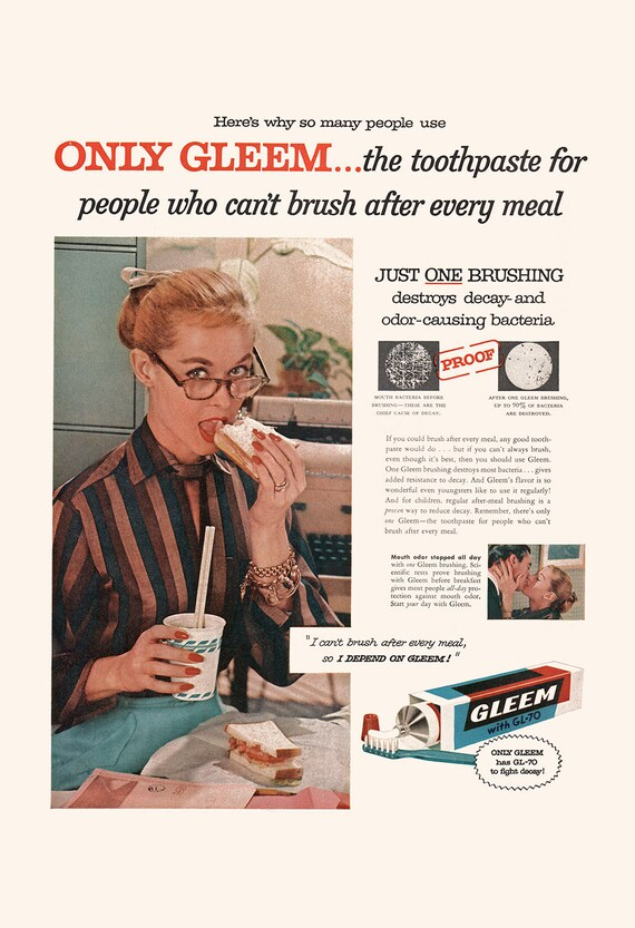 Gleem Toothpaste Ad Retro Art for B Vintage Bathroom Ad COOL BATHROOM POSTER