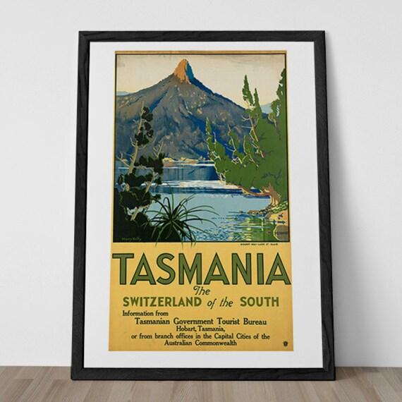 Tasmania Travel Poster Vintage Art Deco Poster Australia Etsy