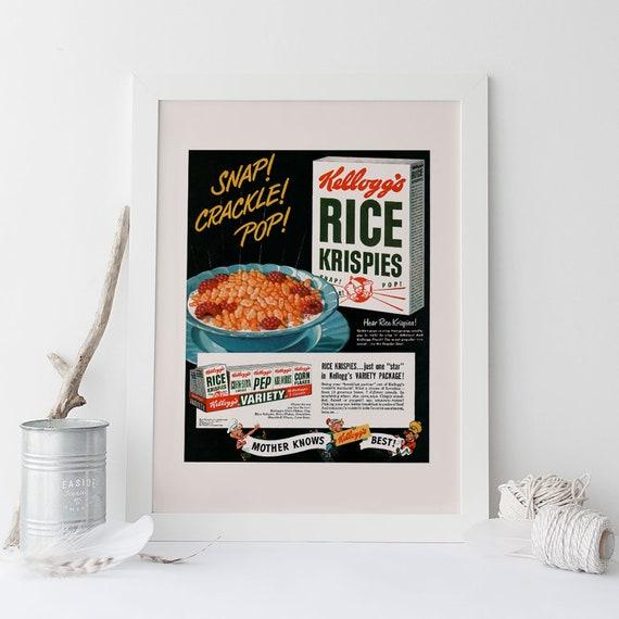 Retro Mid-Century Advertisement Home Wall Art Kitchen Decor Idea 1950/'s Breakfast Cereal Print NOSTALGIC BREAKFAST POSTER