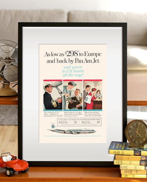 Retro Mid-Century Airline Ad Vintage Travel Ad VINTAGE PAN AM Ad Retro Ad