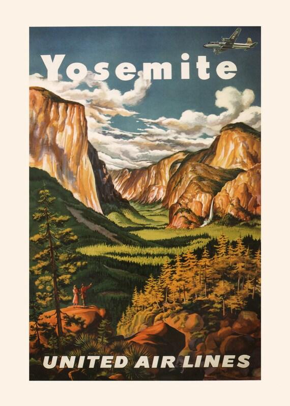 Visite Yosemite National Park Vintage Rétro De Voyage Métal Tin Signe Horloge Murale