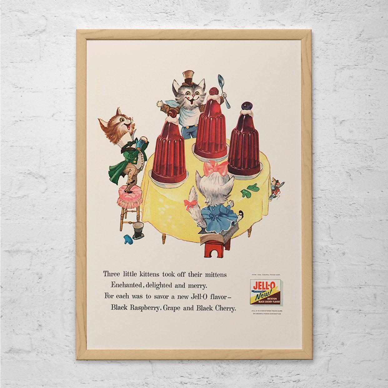 Retro Kitchen Artwork: VINTAGE JELLO Ad Retro Jello Poster Vintage Kitchen Art Mid