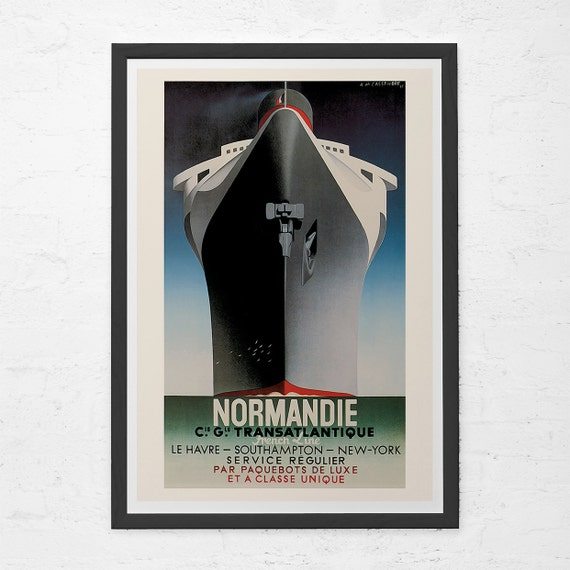 LE HAVRE SOUTHAMPTON TO NEW YORK ON NORMANDIE FRANCE French Travel Poster