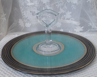 Tidbit Tray, Aqua Glass Petit Fours Server, Hor's d'Oeuvres Tray, Art Deco Era Pressed Glass, Black and Gold Ringed Edge