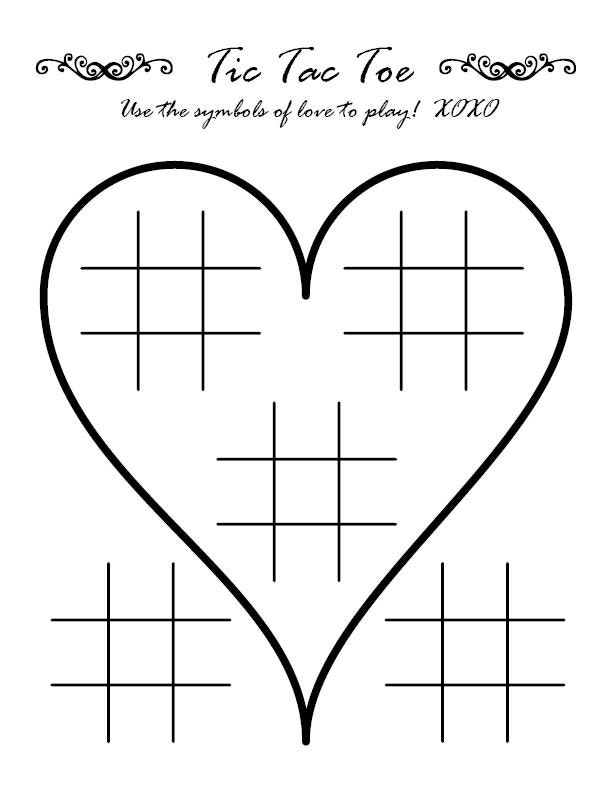 Tic tac toe wedding activity page for Tic tac toe menu template