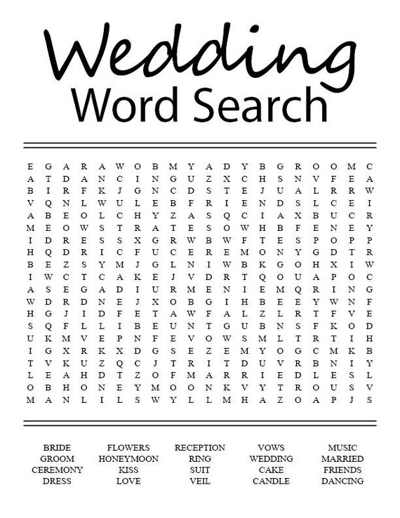 Wedding Word Search | Etsy