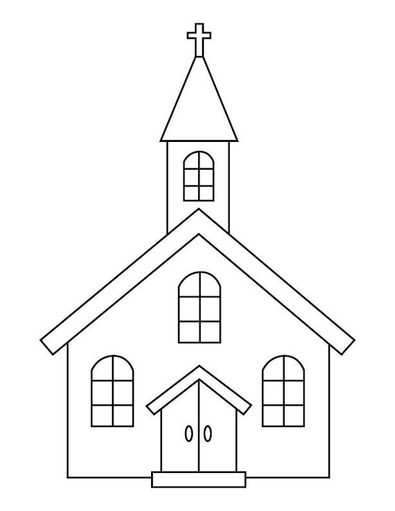 Church Coloring Page | Etsy