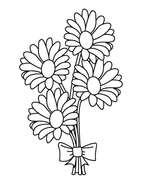 Daisy Bouquet Coloring Page | Etsy