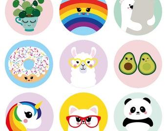 Kawaii stickers Kawaii envelope seal Rainbow stickers Kawaii rainbow stickers