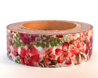Floral washi tape, roses, daisies & peonies
