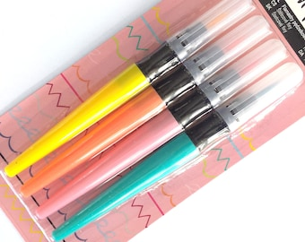 Cute soft tip brush pens - 4 pieces per set - yellow, salmon, pink & blue, brush markers - hand lettering