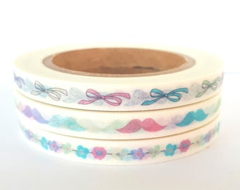 Set of 3 skinny washi tapes - flowers, bows and mustaches | pastel colors