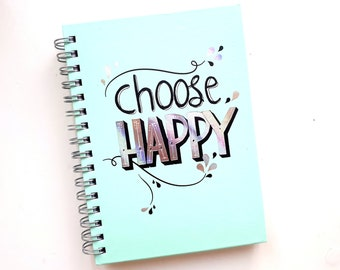 "Mint spiral hard cover notebook ""Choose happy"", A6, 