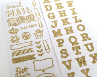 2 sheets of glitter gold snailmail / filofax Hema stickers.