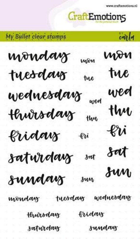 Set Of 28 Bullet Journal Clear Stamps Set Days Of The Week Hand Lettering Travelers Notebook Stamps Planner Weekly