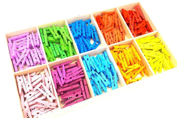 24 x Colorful Mini Clothespins Wood MIX 2