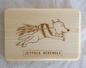 Jetpack Werewolf Wooden Sign - Laser Etched Sign