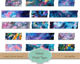 "Digital Washi Tape: ""Galaxy washi tape clipart"", watercolor washi tape, space clipart, galaxy clipart, watercolor clipart"