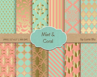 Mint and coral Baby Shower Coral Mint And Gold Digital Paper Etsy Mint And Coral Etsy