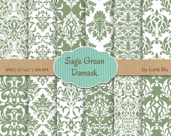 Madeleine Sage Green Large Floral Linen Damask