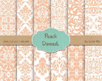 "Peach Digital Paper: ""Peach Damask "" scrapbook paper, for invitations, cardmaking, stationary, crafts, scrapbooking"
