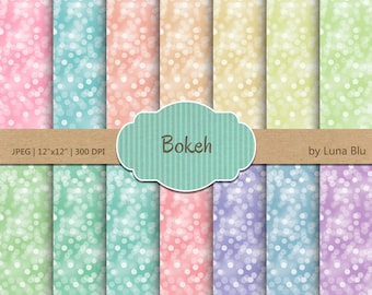 """Bokeh Digital Paper Pack: """" Bokeh Background"""" rainbow, pastel bokeh textures, for Personal and Small Commercial Use, Instant Download"""