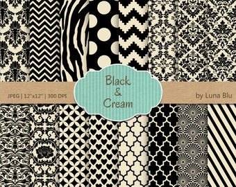 """Black and Cream Digital Paper: """"Black and Cream"""" patterns, backgrounds for scrapbooking, cardmaking, invites, craft supplies"""