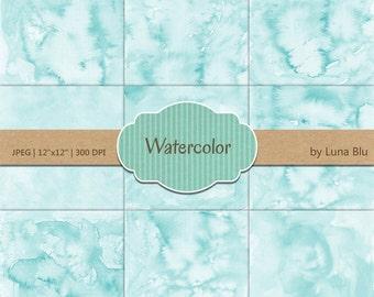 """Aqua Digital Paper: """"Aqua Watercolor"""" pastel watercolor backgrounds, pastel textures, watercolor digital paper"""