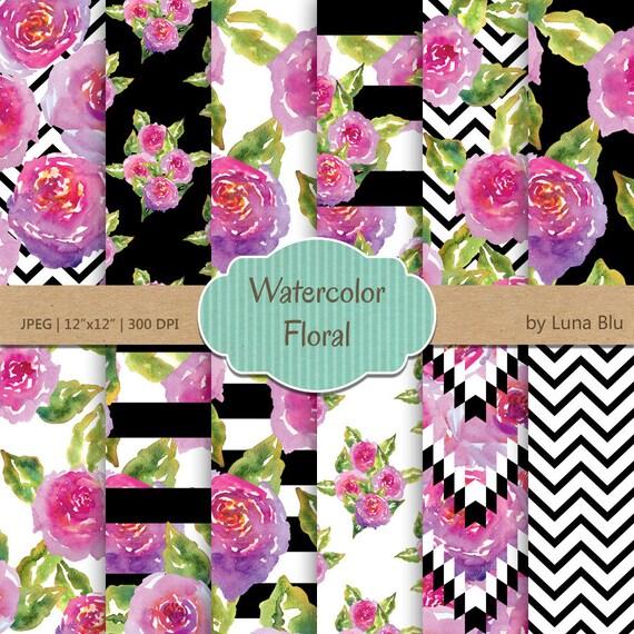 PURPLE FLORAL WATERCOLOR Canvas Sheet Craft Supply Scrapbooking Hair Bows Earrings In the Hoop Floral Watercolor Fabric Sheet