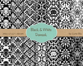 "Black and White Damask Digital Paper: ""Black and White Damasks"" scrapbook paper, damask patterns, black and white digital paper"
