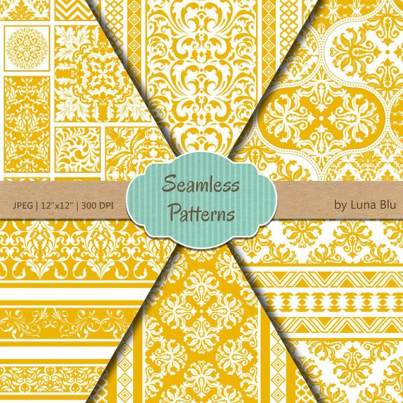Yellow Scrapbook Paper Yellow Seamless Patterns Etsy