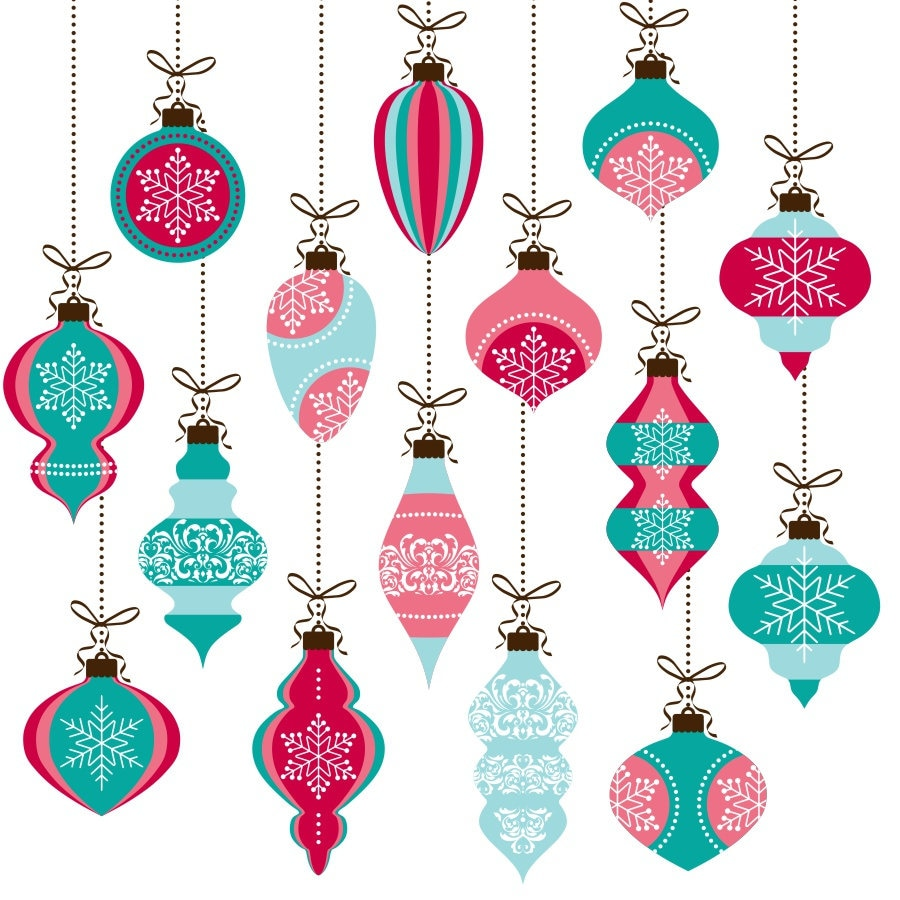 Christmas ornaments clipart christmas clipart pink and ...