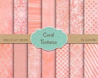 "Textured Digital Paper: ""Coral Textures"" coral digital paper, coral backgrounds, textured backgrounds, watercolor, bokeh, linen, canvas"