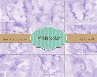 "Lavender Digital Paper: ""Lavender Watercolor"" pastel watercolor backgrounds, pastel textures, watercolor digital paper"