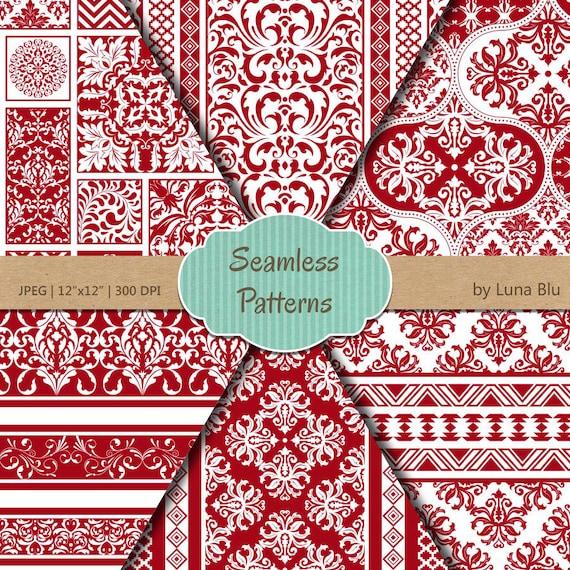 Scrapbook papel: Papel digital Rojo sin costura   Etsy