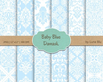 "Baby Blue Digital Paper: ""Baby Blue Damask "" soft blue, pale blue, pastel blue digital paper for invitations, cardmaking, scrapbooking"