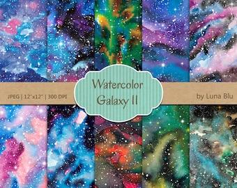 Starry night digital paper, Night sky texture, night sky digital paper, Galaxy Digital Paper, Watercolor Galaxy, star digital paper