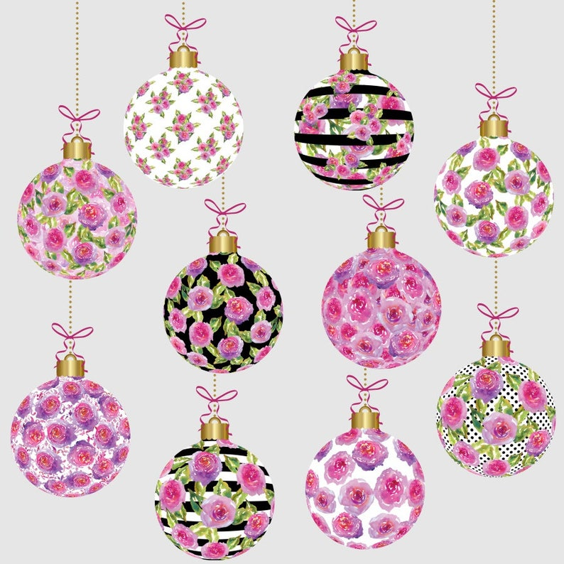 Christmas Ornaments Clipart Watercolor Floral Christmas Clipart Watercolor Christmas Xmas Ornaments Xmas Clipart Watercolor Xmas