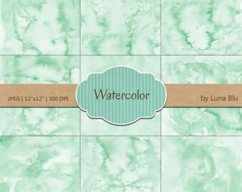 """Mint Digital Paper: """"Mint Watercolor"""" pastel watercolor backgrounds, pastel textures, watercolor digital paper"""