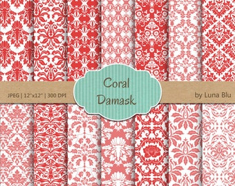 "Damask Digital Paper: ""Coral Damasks"" coral scrapbook paper, damask patterns, coral digital paper, for scrapbooking, cardmaking, invites"