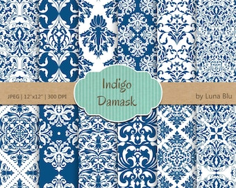 "Indigo Digital Paper: ""Indigo Damask "" ultramarine, blue damask digital paper for invitations, cardmaking, scrapbooking"