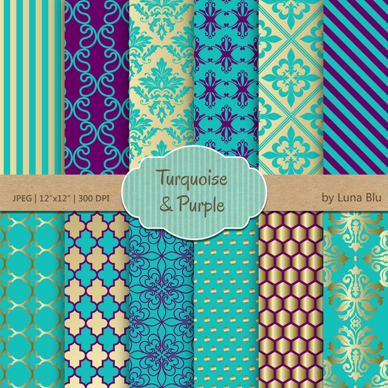 finest selection e18de acc68 Turquoise and Purple Digital Paper  Turquoise and Purple   Etsy