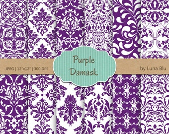 "Purple Damask Digital Paper: ""Purple Damask Patterns"" purple digital paper, for cardmaking, invitations, purple scrapbooking paper"