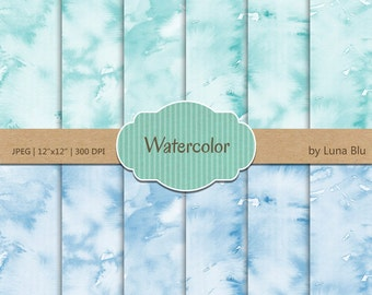 "Watercolor Digital Paper: ""Aqua and Blue Watercolor"" pastel watercolor backgrounds, pastel textures, watercolor overlays"