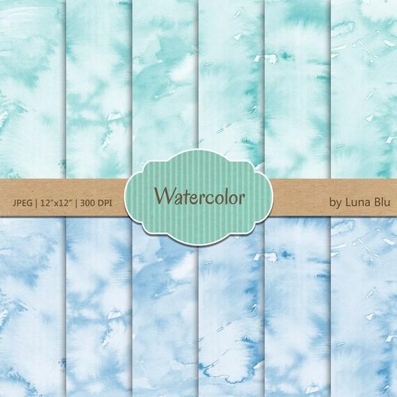 Watercolor Digital Paper Aqua And Blue Watercolor Etsy