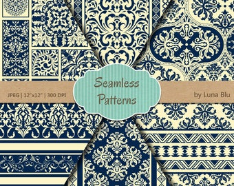 """Navy Backgrounds: """"Navy and Cream Seamless Patterns"""" navy digital paper, premium seamless digital paper, navy blue digital paper"""