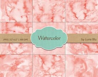 """Coral Digital Paper: """"Coral Watercolor"""" pastel watercolor backgrounds, pastel textures, watercolor digital paper"""