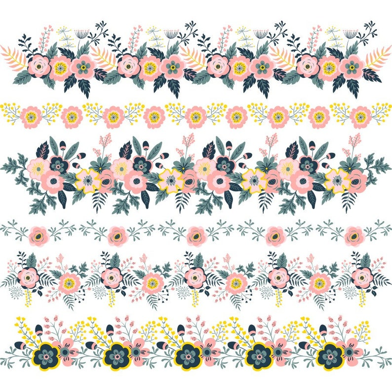 Floral Clipart Borders Png Flower Border Clipart Floral Etsy